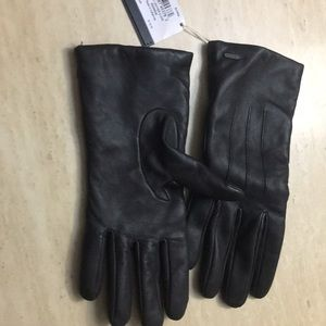 Coach ladies brown black leather gloves 8